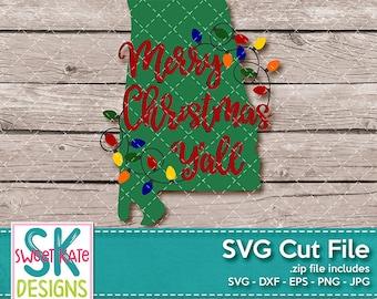 Merry Christmas Yall Alabama SVG dxf EPS png JPG htv Heat Transfer Vinyl Cricut Explore Silhouette Cameo Christmas Lights Sweet Kate Designs