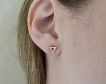 Gold Triangle Earrings, Gold earrings, Tiny studs, Triangle earrings, Minimalist jewelry, Gift for her