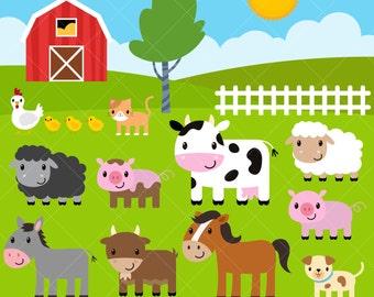 Farm Animals Clipart / Farm Clip Art / Barnyard Animals