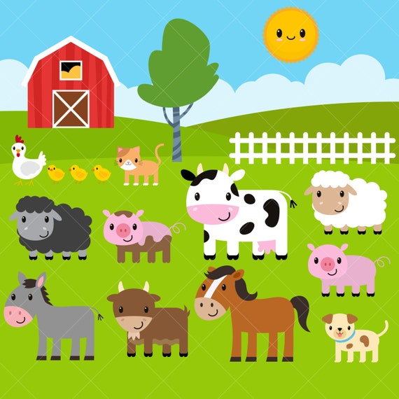 farm animals clipart farm clip art barnyard animals rh etsy com farm animals clipart free farm animals clip art black and white