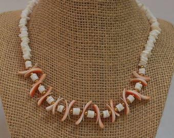 White Puka Shell Choker with Heishi, Coral Tusk & Brass Beads