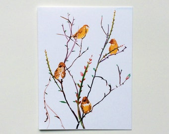 Sweet Illustrated Yellow Birds Sitting on a Tree Note Cards