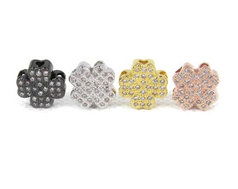 Four Leaf Clover Beads, CZ Micro Pave Bead,Brass Micro Pave Cubic Zirconia Hollow Flower Spacer Beads, 11*11*4mm, 4 PCS