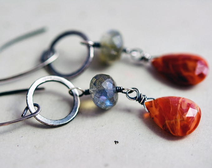 Magma Earrings Mexican Fire Opal on Oxidized Sterling and Fine Silver