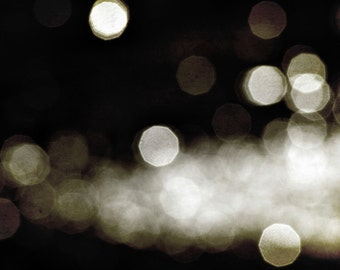Abstract Bokeh Photography, Modern Circles, Sparkles, Sparkly Dark Brown Cream White Bokeh Print 8x10 and up
