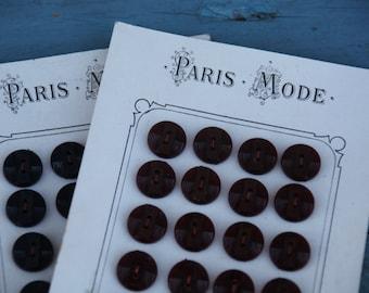 Paris Mode Vintage Button Card/48 French Vintage Buttons/Ruby Red and Navy Blue Vintage Buttons/Ridged French Vintage Buttons/Button Card