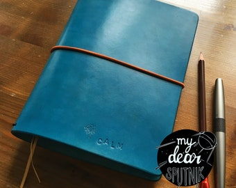 MydearSPUTNIK travelers Notebook Leda, Fauxdori, size A5 petrol blue