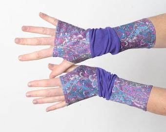 Purple patchwork armwarmers, patterned fingerless gloves, Purple wrist warmers, MALAM
