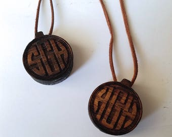 """Monogram Pendant Necklace, *Please Add Initials in notes or message, .5"""" Thick (You Choose Engraving, Size, Art, and Stain )"""