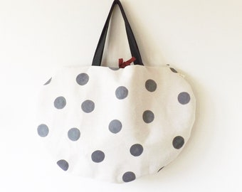 Beige sea bag with gray dots hand painted