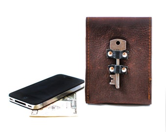Antique Key Leather iPhone Case - Leather Smartphone Case and Card Wallet with Steampunk Antique Skeleton Key