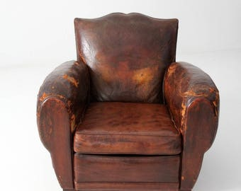 antique French leather club chair, distressed mustache back club chair