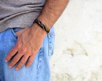 Men Bracelet, Multi-Wrap Bracelet, Boyfriend Gifts, Black Yellow Jewelry, Adjustable Bracelet, Burning Man Jewelry, Fabric Bracelet For Him