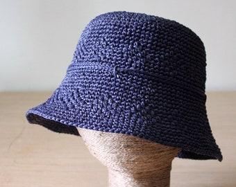 Womens raffia sun hat Blue bucket hat Packable Straw beach hat Ladies sun hats Medium Brim Crushable hats