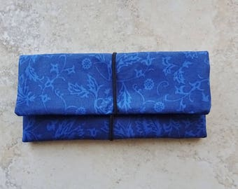 Cord Organizer, Travel Organizer, Cord Case, Blue Fabric Cord Storage Roll, Earbud Case, Travel Gift, Tablet Cord Storage Roll, Cord Keeper