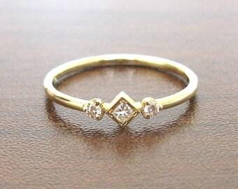 Delicate Ring Minimalist Diamond Yellow Gold 14k, Ring Diamond, Promise Ring, Stacking Rings, Engagement Ring, Thin Minimalist Wedding Ring