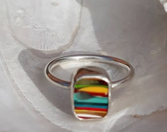 Surfite and silver ring ~ part of the Margaret Range ~ bezel set with vintage surfite from Western Australia, UK size Q .