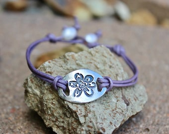 Flower Bracelet, Leather and Sterling, Flower Charm, Lavender Leather Cord, Freshwater Pearl Adjustable Bracelet, Boho Flower Bracelet Gift