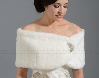 White faux fur wrap bridal shrug faux fur stole shawl FW006-White