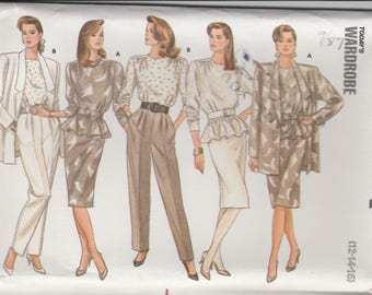 80s Wardrobe Pattern Butterick 5728 Sizes 12 14 16 Uncut