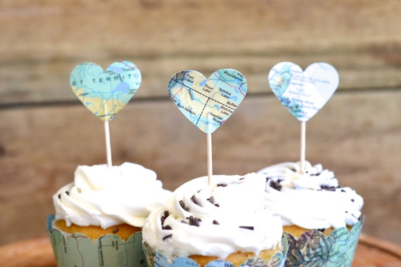 Vintage Map Heart Cupcake Toppers - perfect for your adventure themed wedding, baby shower, or birthday!