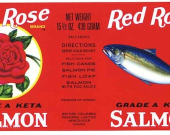 1950s Vintage Red Rose Salmon Fish Can Label Vancouver Canada