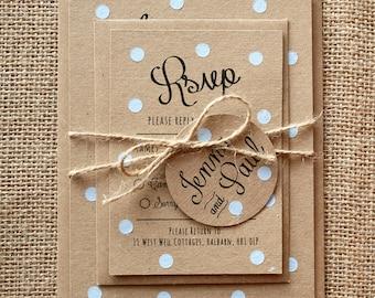 Pastel Blue Polka Dot Wedding Invite Set - Rustic Kraft