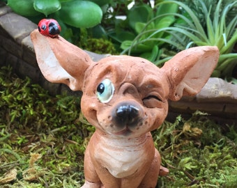 Miniature Chihuahua Pup With Ladybug Figurine, #88,  Fairy Garden, Cake Topper, Accessory, Dog Figurine