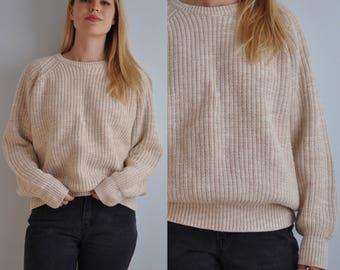 Vintage LL Bean Fisherman Sweater // Vintage Chunky Knit Sweater // Oatmeal Beige // Oversized Sweater // Men's Large