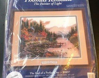 "Thomas Kinkade Cross Stitch Kit The End Of A Perfect Day 50897 14 "" x 11 "" The Painter Of Light Candamar Designs New Sealed"