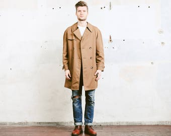 Brown Trench Coat . Men's Vintage Double Breasted Overcoat 1980s Jacket Mens Overcoat Belted Pea Coat . size Medium M