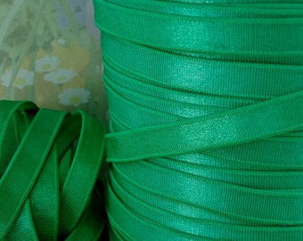 3yds Elastic Satin Shiny Green Headbands 3/8 inch Skinny Kelly Green Bra Strap Elastic by the yard