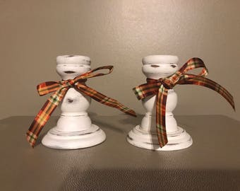 Handpainted wood candlestick holders