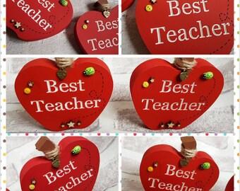 Freestanding apples 'best teacher' gift/end year /thank you wooden