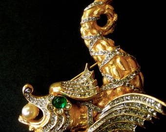 Exquisite Ken Lane Jeweled Mythical Sea Creature Brooch