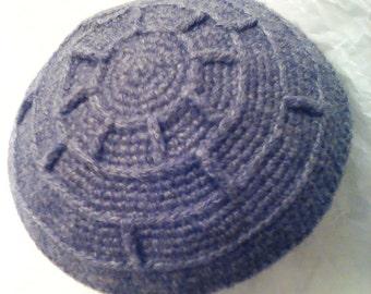 Grey Camelhair Kippah / Hanukah Gift / Gray Jacobs Wheel Yarmulke / Crocheted Kippa
