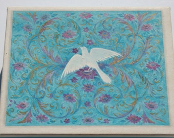 Vintage White Dove on Blue Blank Note Cards with Envelopes, Cute Bird Hallmark, Lot of Note 5 Cards and 8 Envelopes