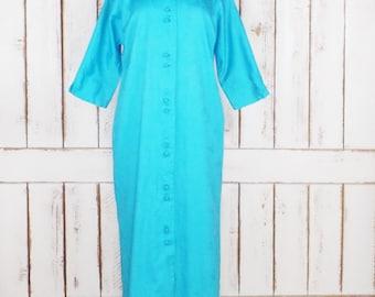 Vintage MME Butterfly  blue Japanese long kimono robe/turquoise blue kimono/floral printed house coat