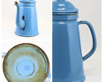 Tea for Two - Small Blue Enamel Tea Pot