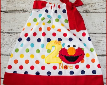 Super Cute Elmo Personalized Birthday Pillowcase style dress name and age included Rainbow Polka dot