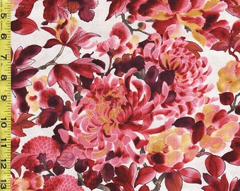 Japanese Asian Sewing Quilting  Fabric - Kona Bay - Grace Collection - Mums & Peonies - Burgundy and Pink - Cream