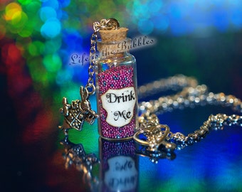Alice in Wonderland, Drink Me Bottle Necklace in Psychedelic Pink with a Rabbit Charm, Disney Bound, Alice Cosplay,  by Life is the Bubbles