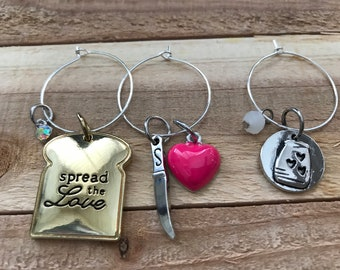 Wine Charm Spread the Love toast, knife, pink heart, and jam drink  tag party favor, bunco prize