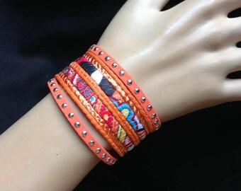 Bracelet - Ethnic style cuff orange