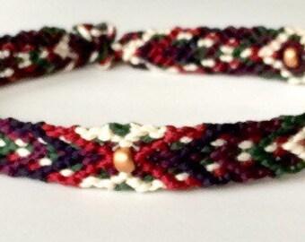 Summer Handwoven Bracelets with Matte-Copper Czech Beads Berries & Cream/Blackberry-Ale