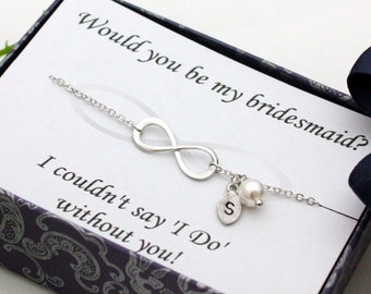 Bridesmaid gifts - Set of 2,  3, 4 - Infinity bracelet, Initial bracelet, Personalized bracelet, Swarovski Pearl ,with card