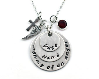 Sympathy Personalized Miscarriage Gift, Mommy of an Angel Silver Necklace, Remembrance Gift for Loss of Pregnancy, Hand Stamped Pendant