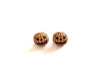 2 Pumpkin Vintage Buttons, Orange, Halloween