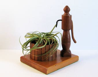 Vintage Water Pump and Wood Barrel Planter Pot - Primitive Wood Sculpture - Turned Cedar Wood Home Decor Air Plant Holder Succulent Planter