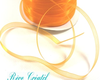 "5 meters Polyester Organza Ribbon, Orange, 1/4""(6mm)"